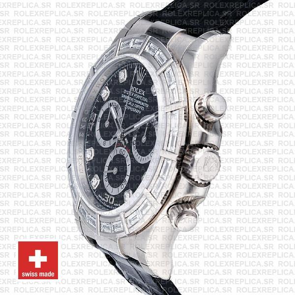 Rolex Daytona White Gold Black Diamond Dial Leather Replica Watch