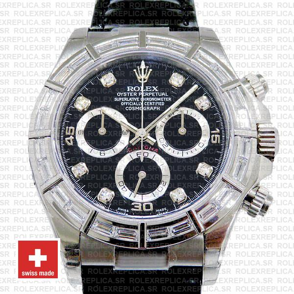 Rolex Daytona Leather White Gold Black Diamond Markers Bezel 116519 Swiss Replica 40mm 2