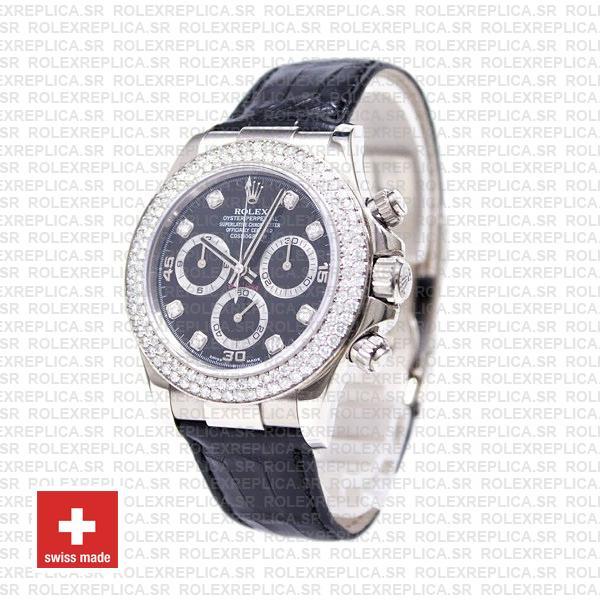 Rolex Daytona White Gold Black Dial Diamond Bezel Replica Watch