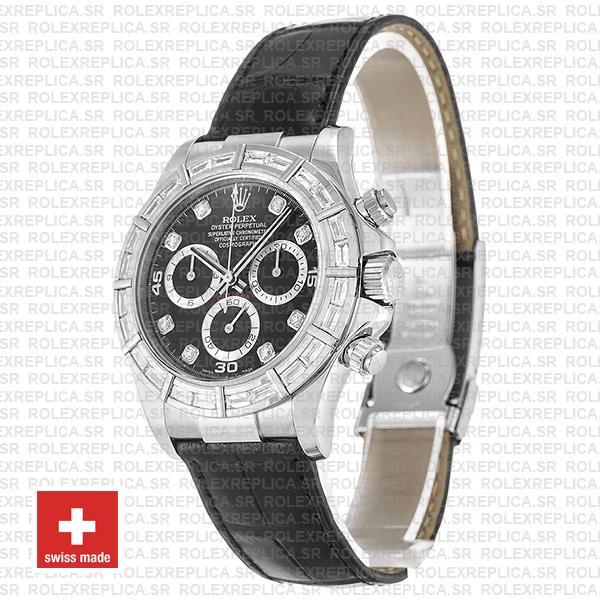 Rolex Daytona 18k White Gold, Leather Strap Black Dial Diamond Hour Markers