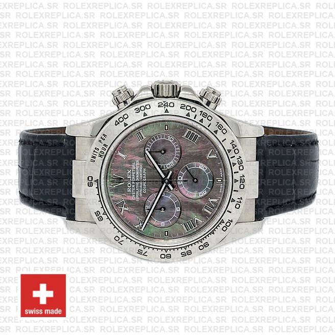 Rolex Daytona Leather White Gold Black Mop Roman 116519 Swiss Replica 40mm