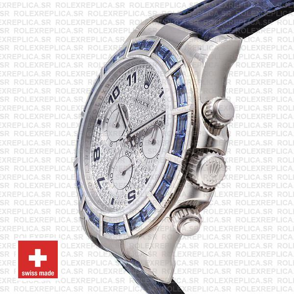 Rolex Daytona White Gold Blue Diamond Dial Rolex Replica Watch