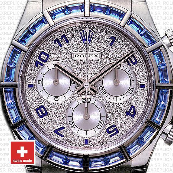 Rolex Daytona 18k White Gold Leather Strap Blue Diamonds Dial 40mm with Arabic Numerals Luxury Replica Watch