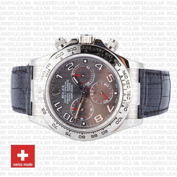 Rolex Daytona 18k White Gold Grey Arabic Dial Rolex Replica Watch