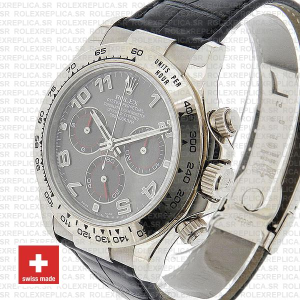 Rolex Daytona 18k White Gold Stainless Steel, Grey Dial with Arabic Markers Leather Strap Replica Watch