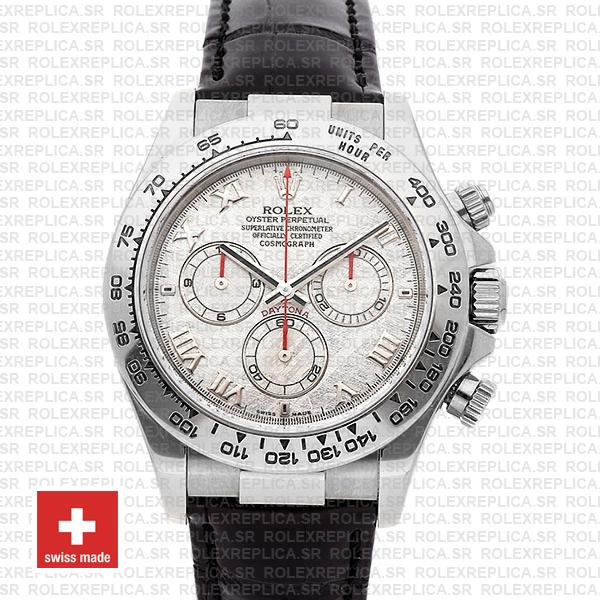 Rolex Daytona Meteorite Dial Leather Strap Replica Watch