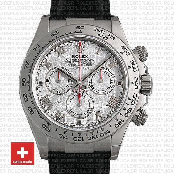Rolex Cosmograph Daytona 18k White Gold Bezel Meteorite Roman Dial with Leather Bracelet 40mm