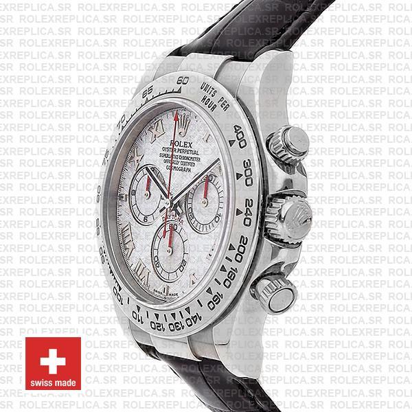 Rolex Daytona Leather White Gold Meteorite Dial Roman 116519 Swiss Replica 40mm
