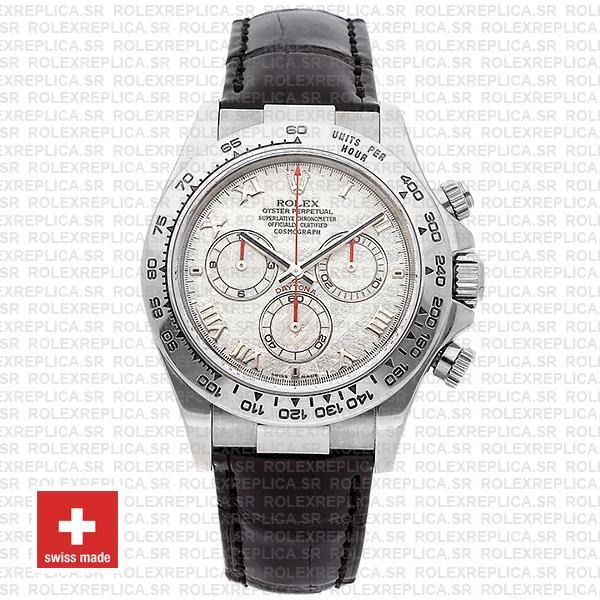 Rolex Daytona Meteorite Dial Leather Strap Swiss Replica Watch