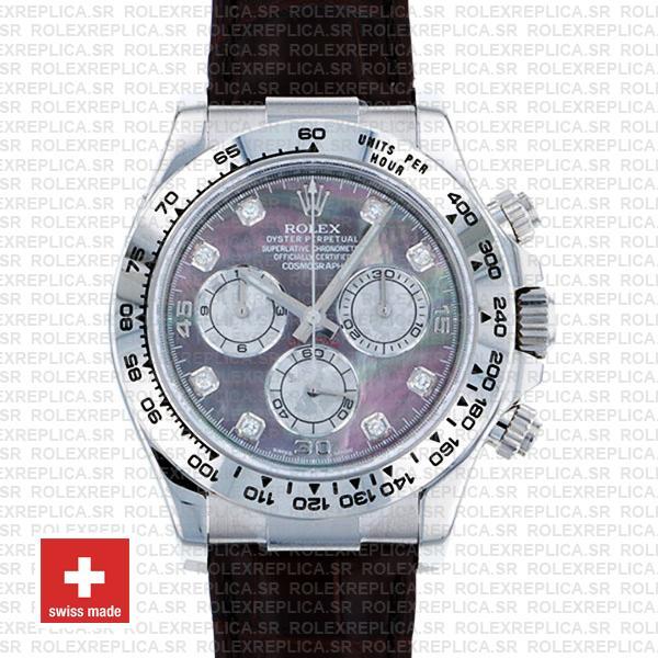Rolex Daytona Real Leather Strap Black MOP Diamond Replica Watch