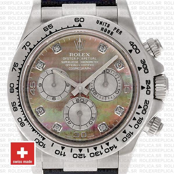 Rolex Cosmograph Daytona Genuine Leather Strap 18k White Gold 904L Steel MOP Black Dial Diamond Markers