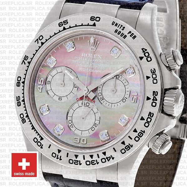Rolex Cosmograph Daytona Genuine Leather Strap 18k White Gold 904L Steel MOP Black Dial Diamond Markers Watch
