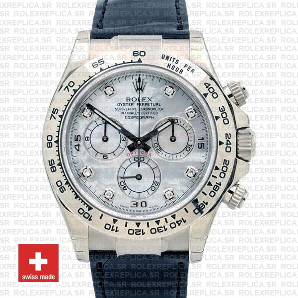 Rolex Daytona White Gold White Diamond Dial Leather Watch