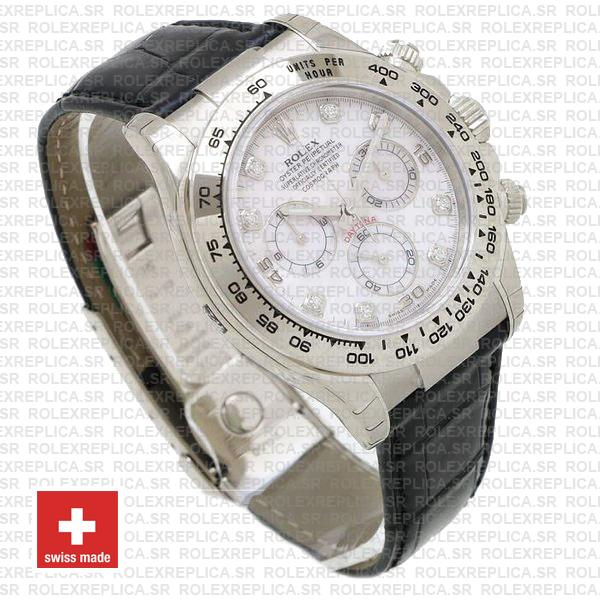 Rolex Daytona White Gold White Diamond Dial Leather Replica Watch