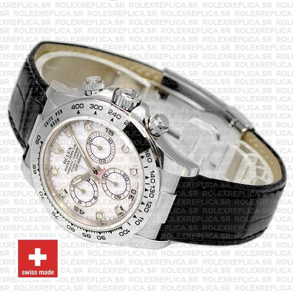 Rolex Daytona White Gold White Diamond Dial Leather Swiss Replica Watch