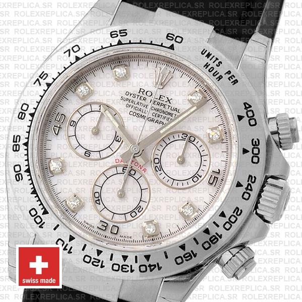Rolex Daytona 18k White Gold 904L Stainless Steel, White Diamond Dial 40mm with Leather Strap