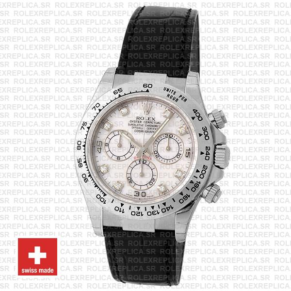 Rolex Daytona 18k White Gold 904L Stainless Steel, White Diamond Dial 40mm with Leather Strap Watch