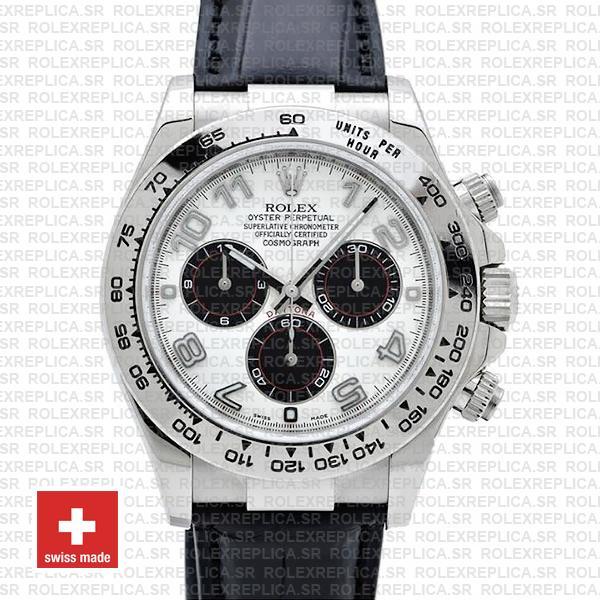 Rolex Daytona 18k White Gold Leather Strap White Dial Watch