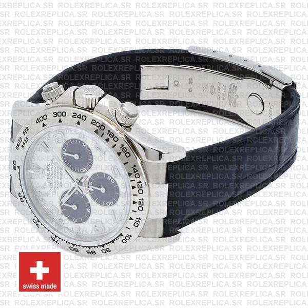 Rolex Daytona 18k White Gold Leather Strap White Dial Replica Watch