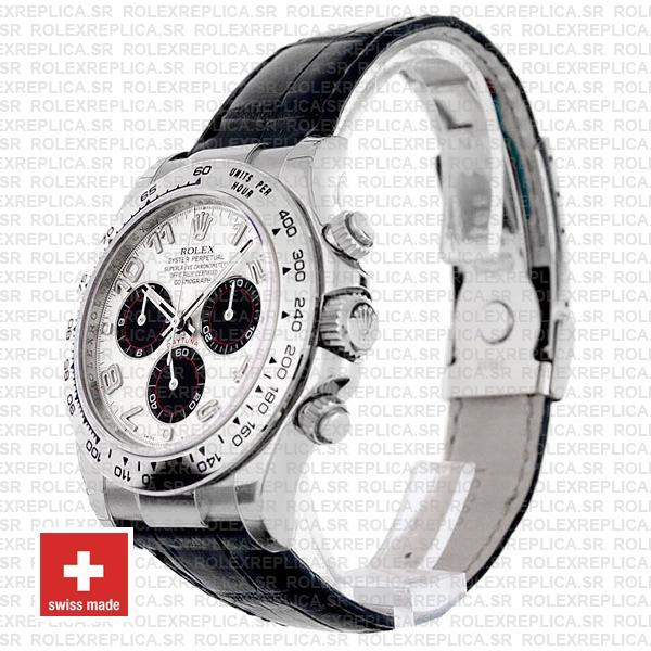 Rolex Daytona 18k White Gold Leather Strap White Dial Swiss Replica Watch