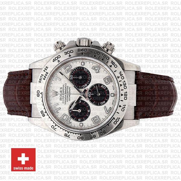 Rolex Cosmograph Daytona Oysterflex Leather Bracelet, 18k White Gold 904L Steel White Panda Dial