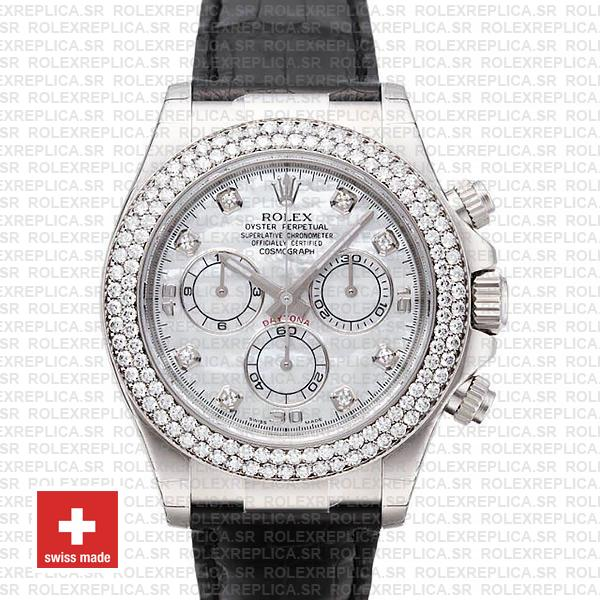 Rolex Daytona Leather White Gold White Mop Diamond Markers Bezel 116519 Swiss Replica 40mm