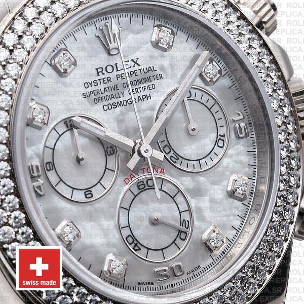Rolex Cosmograph Daytona Leather Strap 18k White Gold MOP White Dial Diamond Markers Bezel