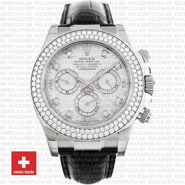 Rolex Cosmograph Daytona Leather Strap 18k White Gold MOP White Dial Diamond Markers Bezel 40mm Watch