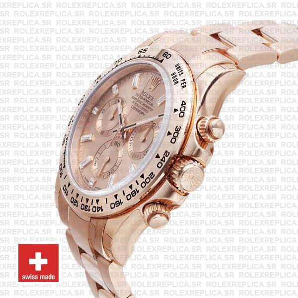 Rolex Cosmograph Daytona 40mm 18k Rose Gold Stainless Steel Oyster Bracelet Pink Diamond Dial