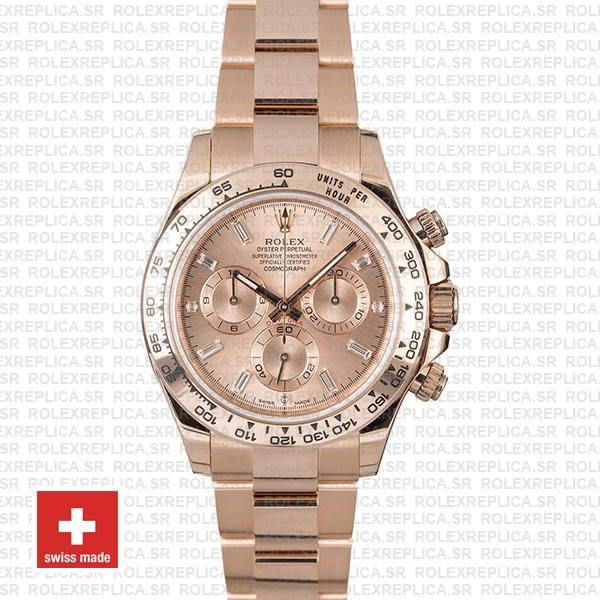 Rolex Cosmograph Daytona 40mm 18k Rose Gold Stainless Steel Oyster Bracelet