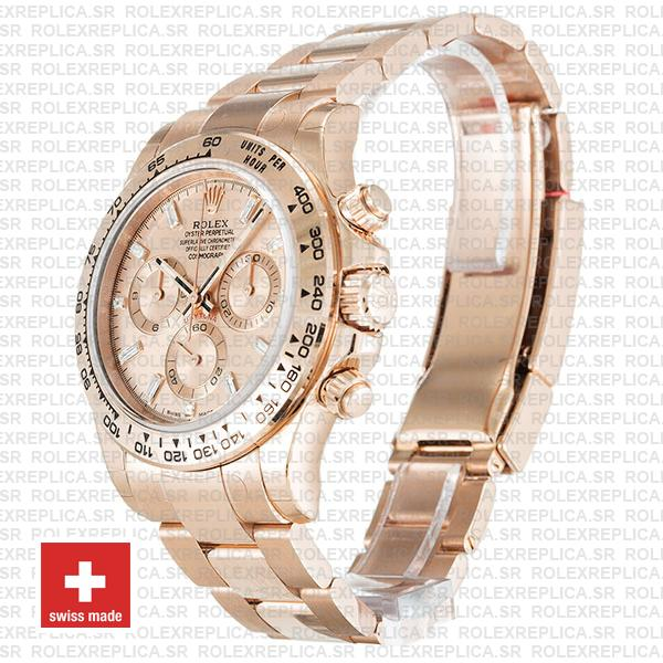 Rolex Daytona 18k Rose Gold Pink Diamond Dial Rolex Replica Watch