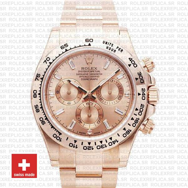 Rolex Daytona 18k Rose Gold Pink Diamond Dial Replica Watch