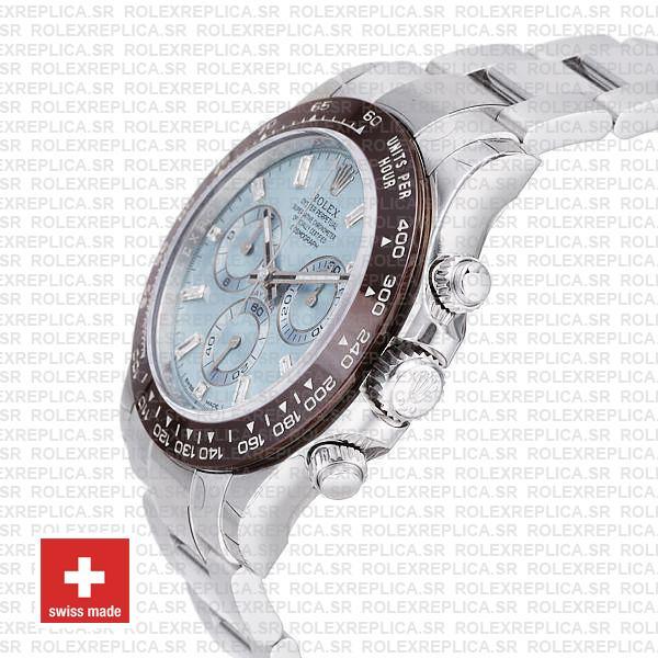 Rolex Daytona Platinum Ice Blue Diamond Markers Ceramic 116506 Swiss Replica