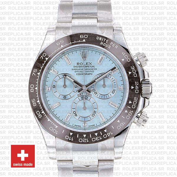 Rolex Daytona 40mm Platinum Ice Blue Dial Swiss Replica Watch