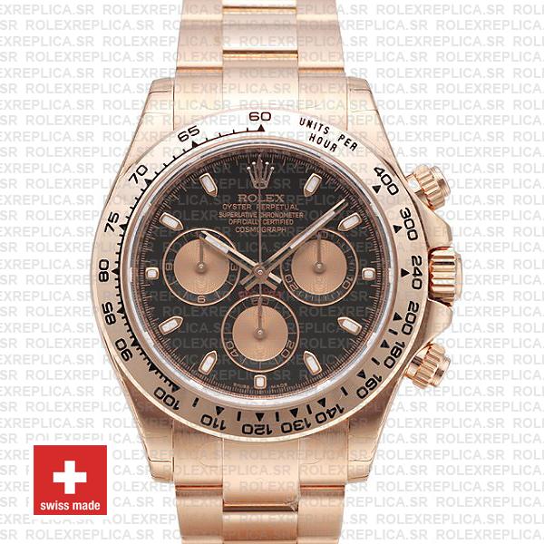 Rolex Daytona Rose Gold Black Dial | Rolex Replica Watch