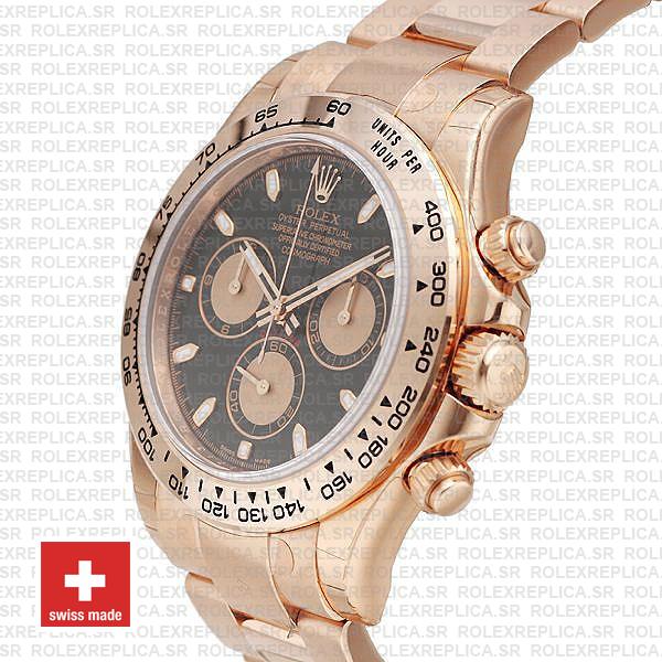 Rolex Daytona Rose Gold Black Dial Rolex Replica Watch