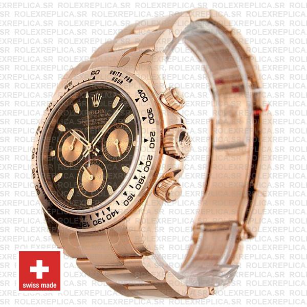 Rolex Cosmograph Daytona 18k Rose Gold Black Panda Dial 40mm with Rose Gold Subdials