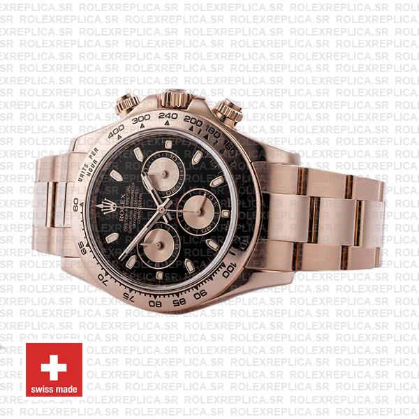 Rolex Cosmograph Daytona 18k Rose Gold Black Panda Dial 40mm with Rose Gold Subdials 904L Steel Oyster Bracelet