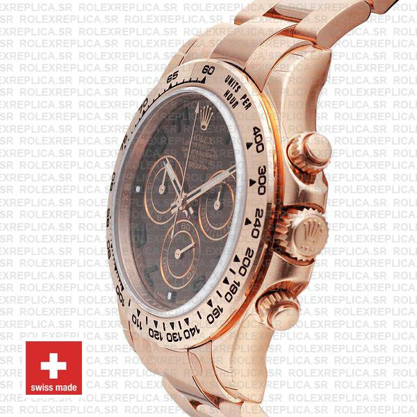 Rolex Daytona Rose Gold Chocolate Dial Swiss Replica Watch