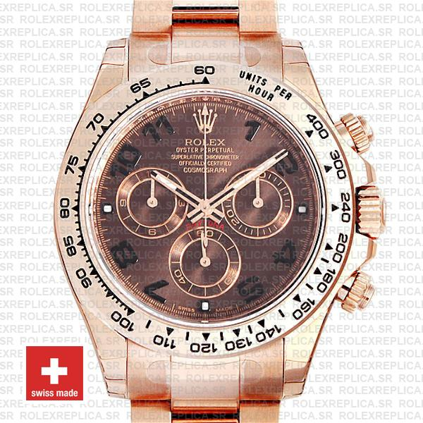 Replica Rolex Cosmograph Daytona 18k Rose Gold, 904L Stainless Steel Chocolate Arabic Dial