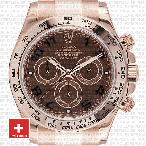 Replica Rolex Cosmograph Daytona 18k Rose Gold, 904L Stainless Steel Chocolate Arabic Dial 40mm