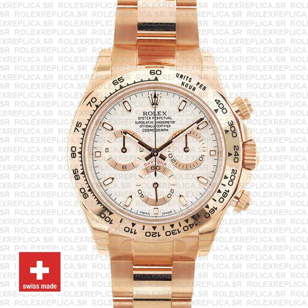 Rolex Daytona 18k Rose Gold 904L Stainless Steel White Ivory Dial 40mm Rolex Replica Watch