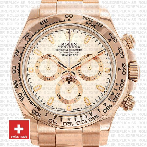 Rolex Daytona 18k Rose Gold 904L Stainless Steel White Ivory Dial 40mm Replica Watch