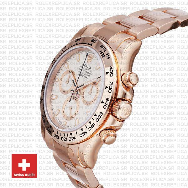 Rolex Daytona 18k Rose Gold Ivory Dial Rolex Replica Watch