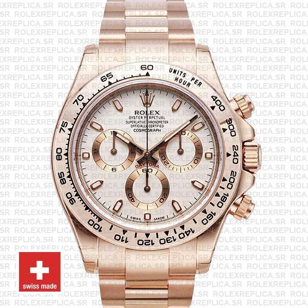 Rolex Daytona 18k Rose Gold Ivory Dial | Rolex Replica Watch