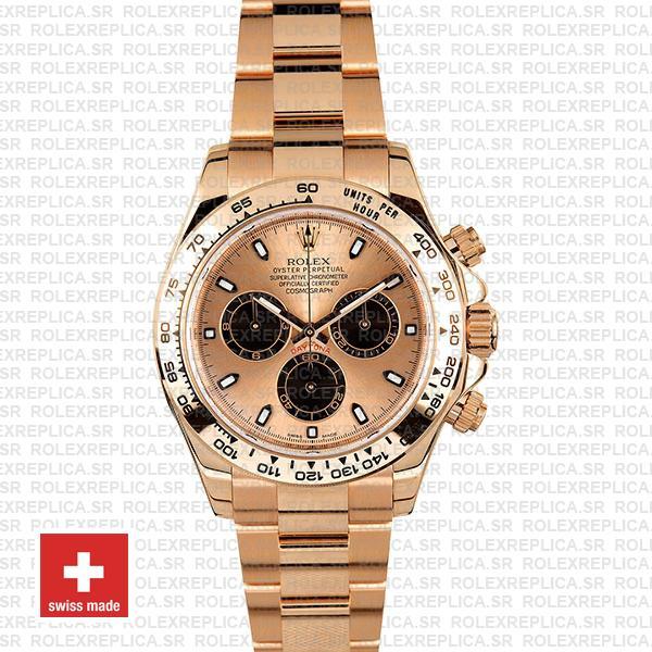 Rolex Oyster Perpetual Daytona 18k Rose Gold Watch Pink Panda Dial