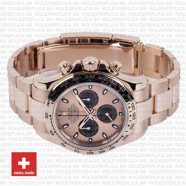 Rolex Oyster Perpetual Daytona 18k Rose Gold Watch Pink Panda Dial 40mm