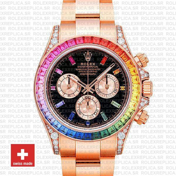 Rolex Daytona 18k Rose Gold Rainbow Bezel Replica Watch