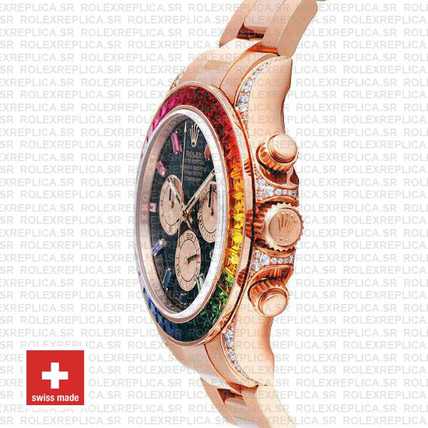 Rolex Daytona 18k Rose Gold Rainbow Bezel Swiss Replica Watch