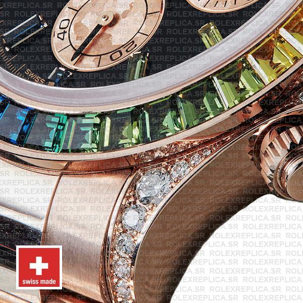 Rolex Cosmograph Daytona 18k Rose Gold Black Gem Dial & Rainbow Sapphire Bezel Diamond Set Case Watch